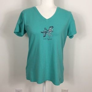 Life Is Good Teal V Neck Tshirt